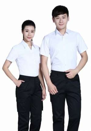 白色商务V领短袖衬衫